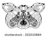 zentangle  raccoon head doodle. ... | Shutterstock .eps vector #332010884