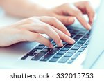 female hands or woman office... | Shutterstock . vector #332015753