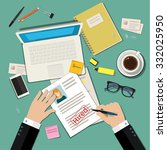 job interview concept with... | Shutterstock . vector #332025950