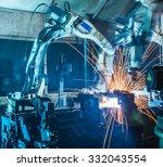 welding robots movement in a... | Shutterstock . vector #332043554