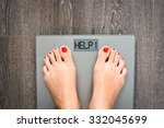 Stock photo lose weight concept with person on a scale measuring kilograms 332045699