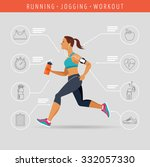 woman running  jogging  ... | Shutterstock .eps vector #332057330
