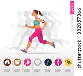 woman running  jogging  ... | Shutterstock .eps vector #332057366