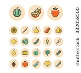 thin line icons for fruits and... | Shutterstock . vector #332058500