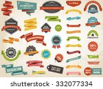 Vector illustration set of vintage Label, Banner Tag Sticker Badge and Ribbons design elements. | Shutterstock vector #332077334