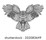 Stock vector eagle owl birds black white hand drawn doodle ethnic patterned vector illustration african 332083649