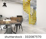 spiral stairs and living room... | Shutterstock . vector #332087570