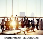 business people arms raised... | Shutterstock . vector #332089028