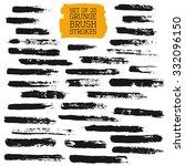 black painted brush strokes set ... | Shutterstock .eps vector #332096150
