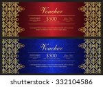 red and blue voucher with gold... | Shutterstock .eps vector #332104586