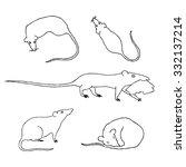 rat black and white set. | Shutterstock .eps vector #332137214