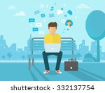 young man sitting in the street ... | Shutterstock .eps vector #332137754