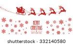 santa sleigh reindeer flying... | Shutterstock .eps vector #332140580