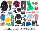 outfits of clothes and woman... | Shutterstock . vector #332158349