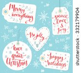 christmas gift tags with... | Shutterstock .eps vector #332179904