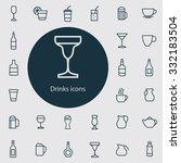 drinks icons vector set | Shutterstock .eps vector #332183504