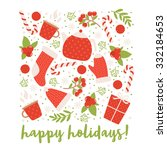 winter holidays greeting card... | Shutterstock .eps vector #332184653
