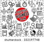 doodle strategic business plan... | Shutterstock .eps vector #332197748