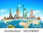 famous monuments of the world... | Shutterstock . vector #332198303