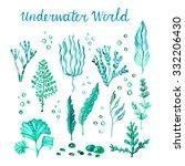 Underwater Watercolor Algae Se...