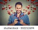 portrait happy man sending love ... | Shutterstock . vector #332212694