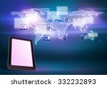 tablet pc and world map digital ... | Shutterstock . vector #332232893