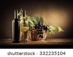 Wine Bottles  Grapes And Vine...
