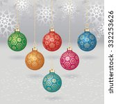 vector christmas balls with... | Shutterstock .eps vector #332253626