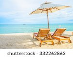 umbrella and beach chair with... | Shutterstock . vector #332262863