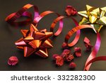 Festive Red And Golden  Ribbon...