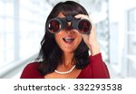 business woman with binoculars... | Shutterstock . vector #332293538