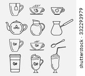 collection of vector contour... | Shutterstock .eps vector #332293979
