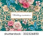 wedding invitation with blue... | Shutterstock . vector #332326850
