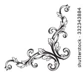 vintage baroque frame scroll... | Shutterstock .eps vector #332343884