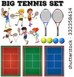 tennis players and courts... | Shutterstock .eps vector #332358614