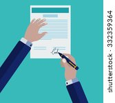 signing a contract vector... | Shutterstock .eps vector #332359364