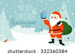 a cute santa holding a gift in... | Shutterstock .eps vector #332360384