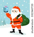 a cute santa holding a gift in... | Shutterstock .eps vector #332360720