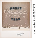 vintage christmas greeting card ... | Shutterstock .eps vector #332367974