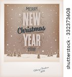 vintage christmas greeting card ... | Shutterstock .eps vector #332373608