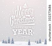vintage christmas greeting card ... | Shutterstock .eps vector #332373686
