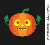 cute halloween orange pumpkin... | Shutterstock .eps vector #332375900