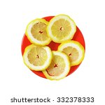 slices of fresh lemon on a red... | Shutterstock . vector #332378333