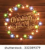 glowing white christmas lights... | Shutterstock .eps vector #332389379