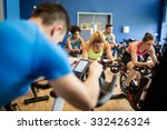 fit people in a spin class at... | Shutterstock . vector #332426324