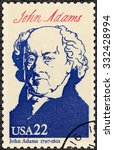 Small photo of UNITED STATES OF AMERICA - CIRCA 1986: A stamp printed in USA shows portrait John Adams (1735-1826), second President, series Presidents of USA, circa 1986