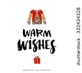 warm wishes. christmas... | Shutterstock .eps vector #332434328