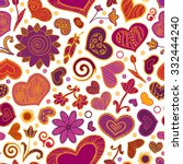 valentines day card  ornate... | Shutterstock .eps vector #332444240