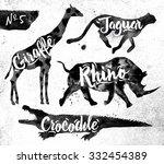 Stock vector silhouettes of animal giraffe rhino crocodile cheetah drawing black paint on background of dirty 332454389