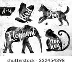 silhouettes of animal bird  dog ... | Shutterstock .eps vector #332454398